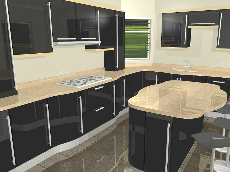 Contemporary Black High Gloss Curves With Sharp Decoration