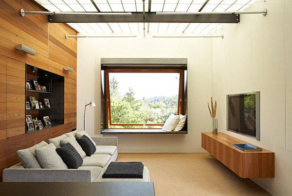 Minimalist Living Room Hanging Tv Design