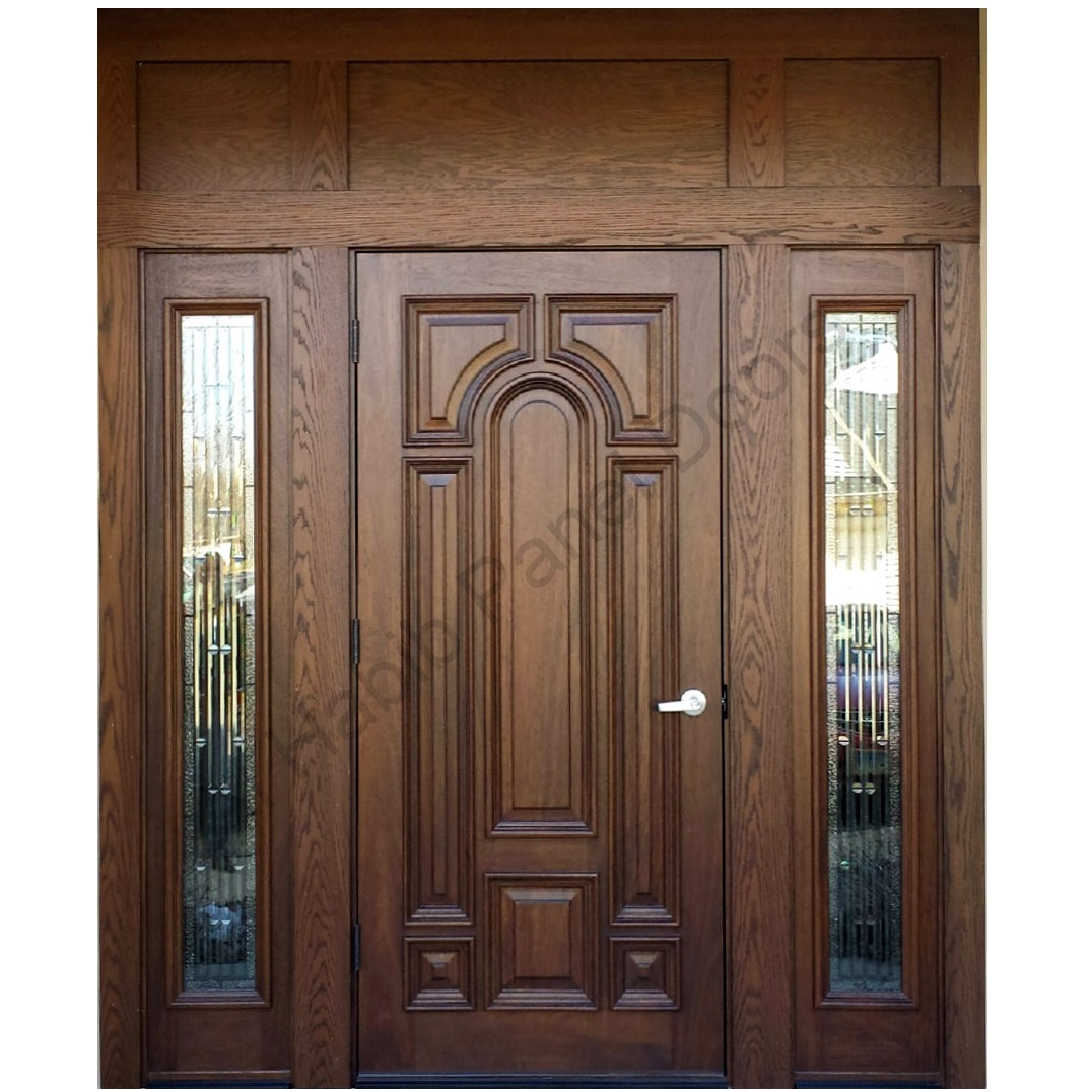 Ash wood door with frame hpd416 solid wood doors al for Traditional wooden door design ideas