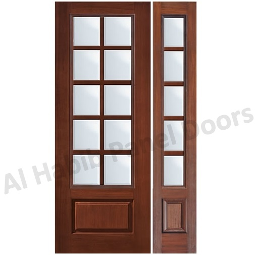 Classic wood door design with glass hpd481 glass panel for Kitchen entrance door designs