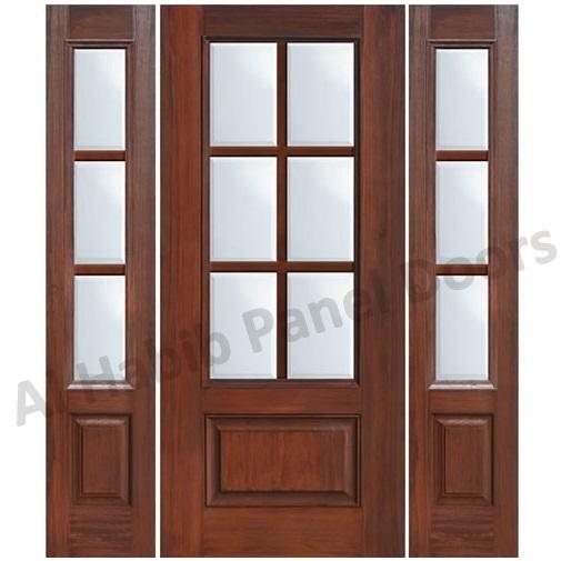 glass wooden door with frame - Wood Door Frame