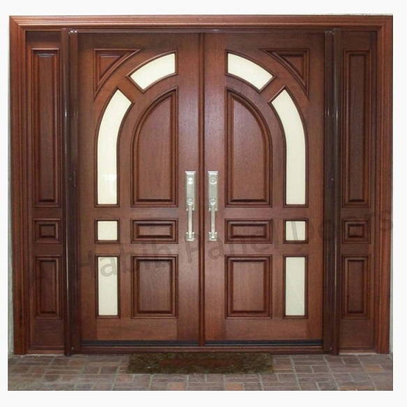 Solid diyar wood double door with solid sides frame hpd507 for Large wooden front doors