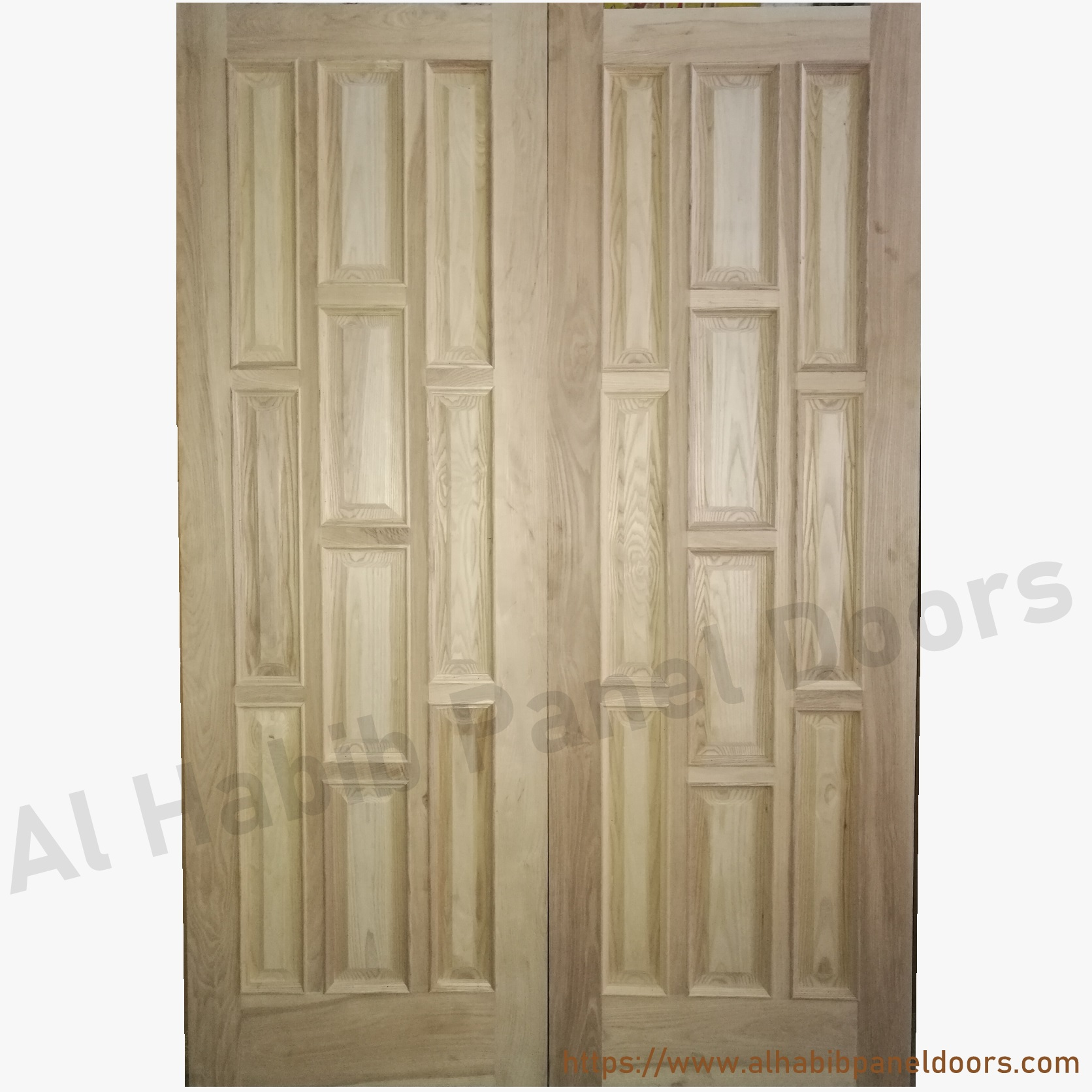 Solid wood main double door hpd413 main doors al habib for Solid hardwood front doors