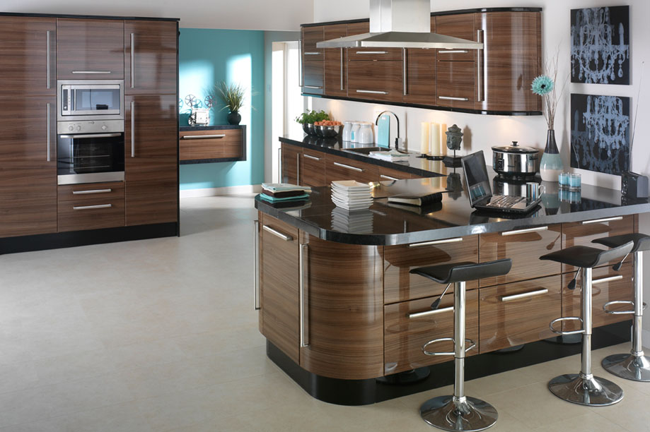 Apollo dark walnut high gloss kitchen design idea ipc402 for Walnut kitchen designs