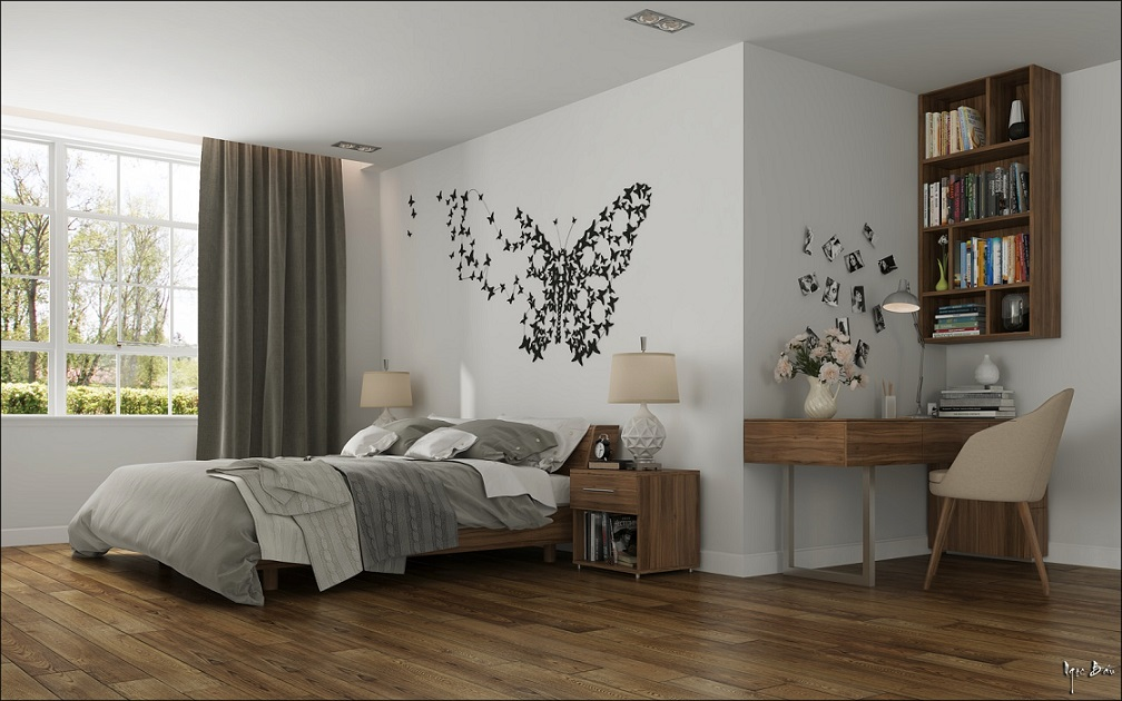 Bedroom Butterfly Wallpaper Design