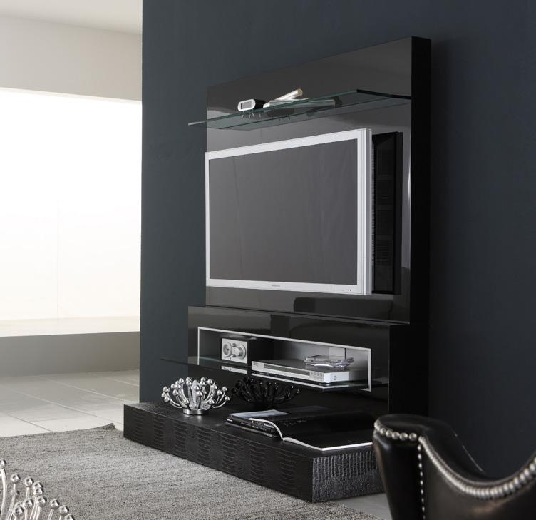 Modern italian lcd black wall unit design ipc217 lcd tv Tv unit designs for lcd tv