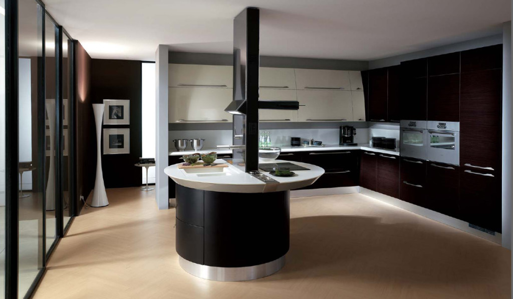 Brown Ceramic Floor With Black And White Italian Kitchen Design