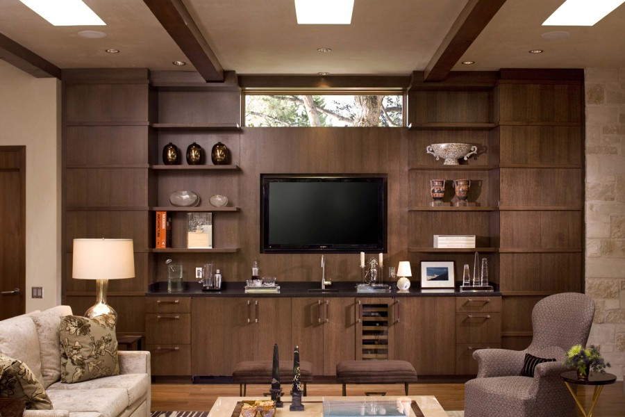Brown Wall Unit And LCD Cabinet Design