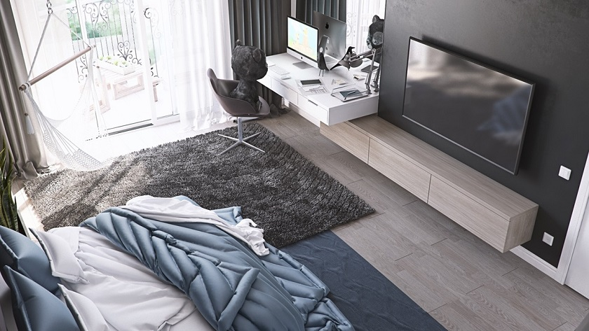 Computer Desk And LCD Cabinet Bedroom Interior Design