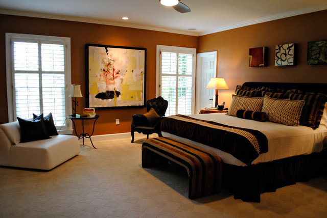 Cream Brown Rust Bedroom Design