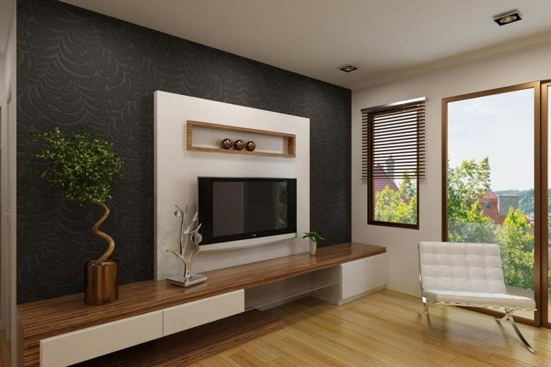 Elegant White Tv Cabi  With Contrast Wallpaper Ipc338 on living dining design inspiration