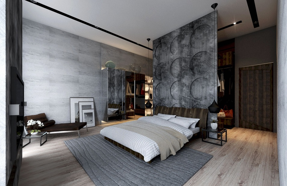 Exposed Concrete Wall Bedroom