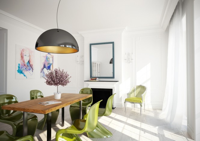 Green White Dining Room