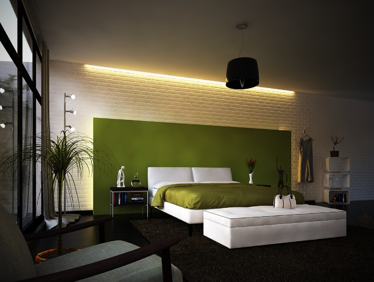 Green White Modern Bedroom