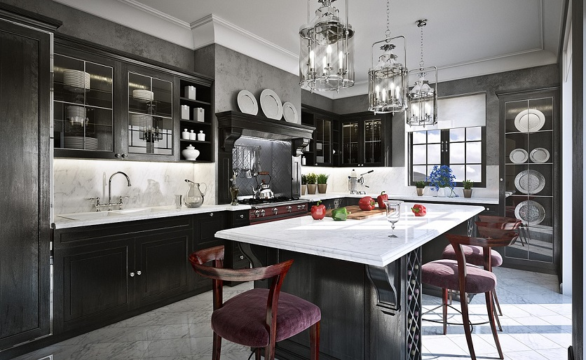 Grey And Black Traditional Kitchen Design