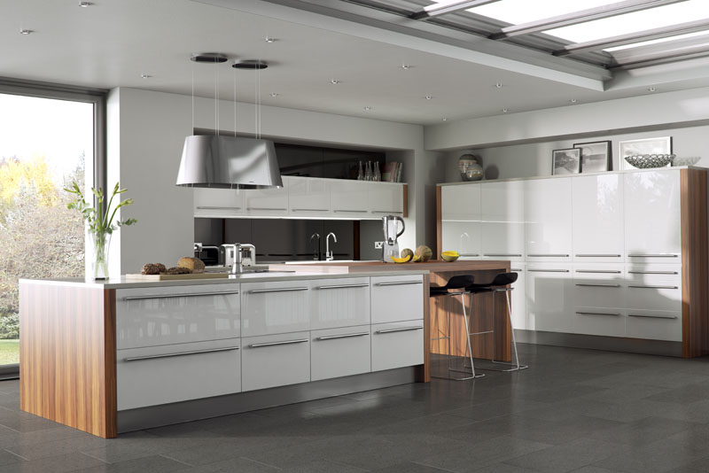 Helsinki Island Style Kitchen White With Wood Top