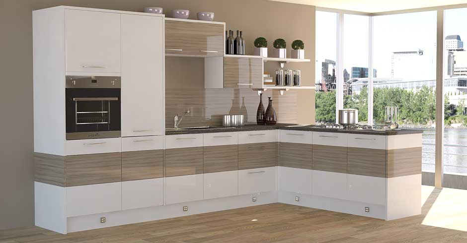 High Gloss Cream Contemporary Kitchen Design · U003e High ...