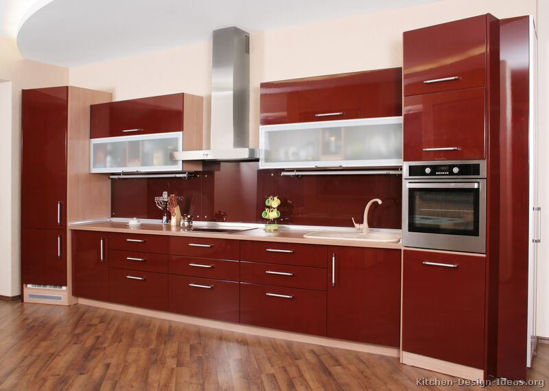 Incredible kitchen cabinet ideas with modern red angled for Modern kitchen units designs