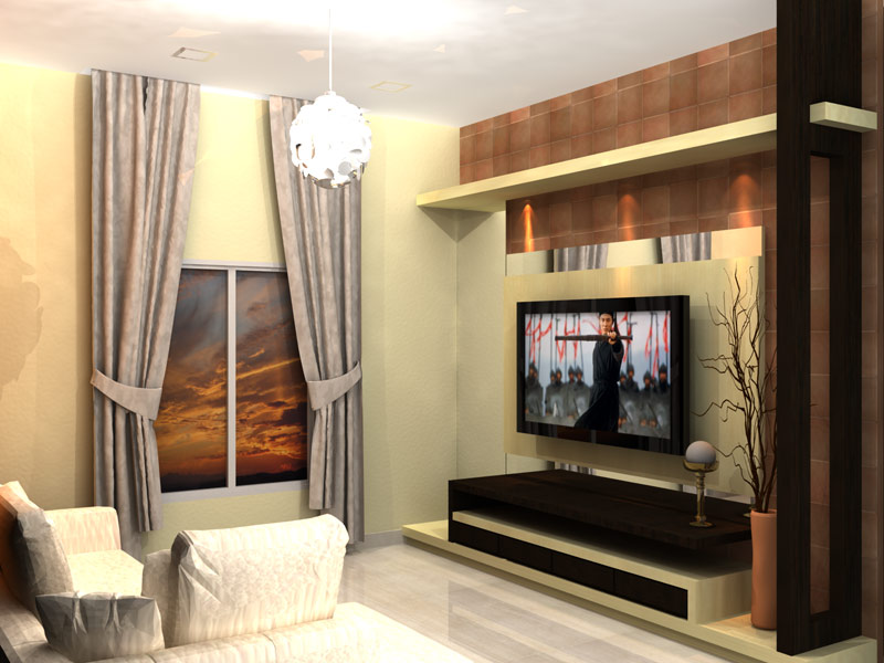 Lcd wall unit design for living room living room designs for Latest lcd wall unit designs