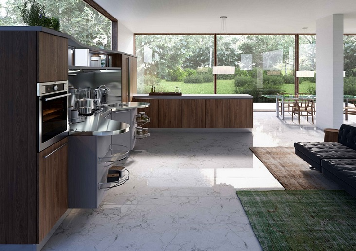 Kitchen With White Marble Floor