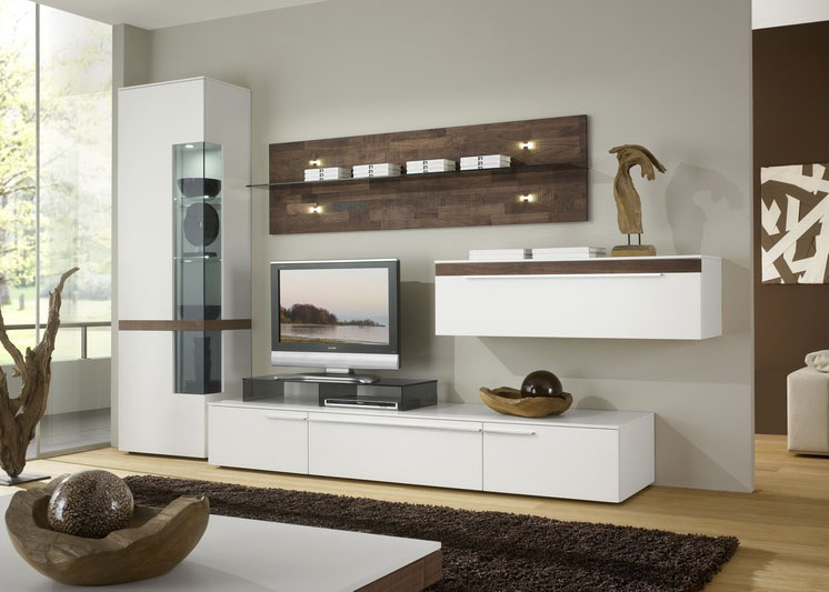 Modern bedroom storage unit design ipc221 wall storage for Latest lcd wall unit designs