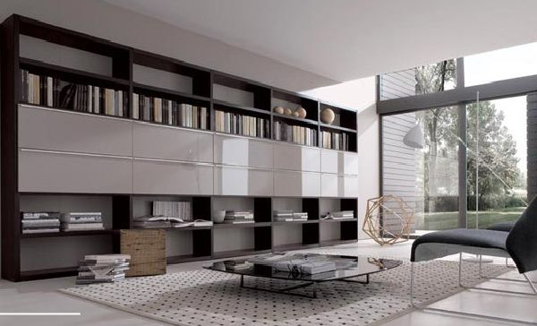 Long Wall Storage Book Shelves Design