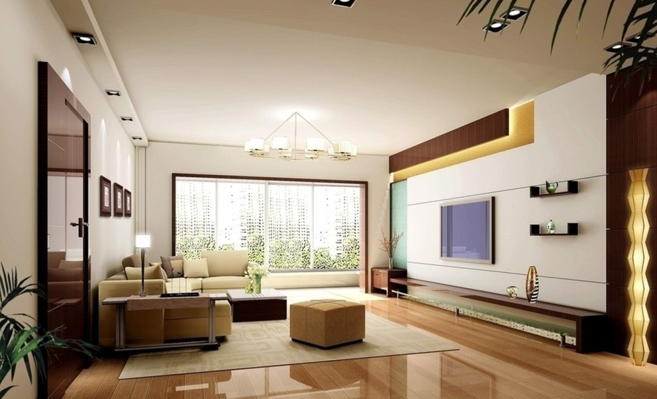 Luxurious Living Room With Tv Wall And Glossy Wooden Floor