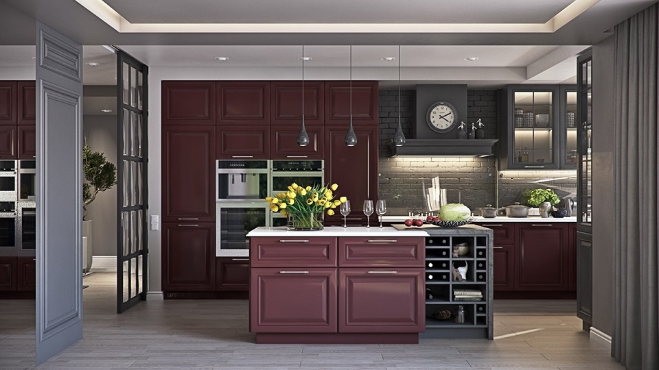 Mahogany And Charcoal Kitchen Cabinet Design