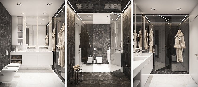 Modern Bathroom Marble Wall Interior