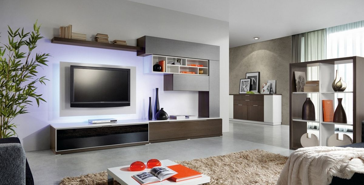 Brown wall unit and lcd cabinet design ipc219 lcd tv for Latest lcd wall unit designs
