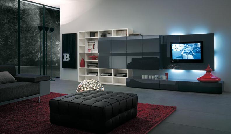 Modern Italian Lcd Black Wall Unit Design Ipc217 - Lcd Tv Cabinet ...
