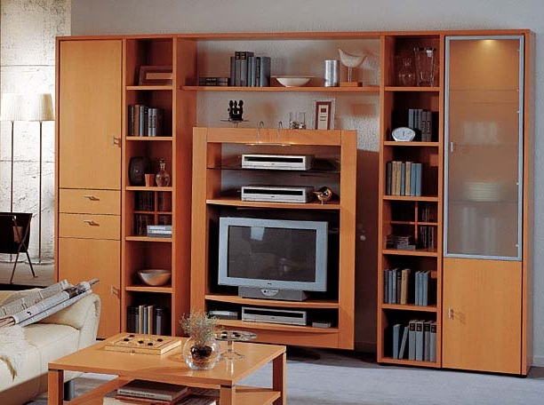 Modern Living Room LCD Cabi.... Brown Wall Unit And LCD Cabinet Design