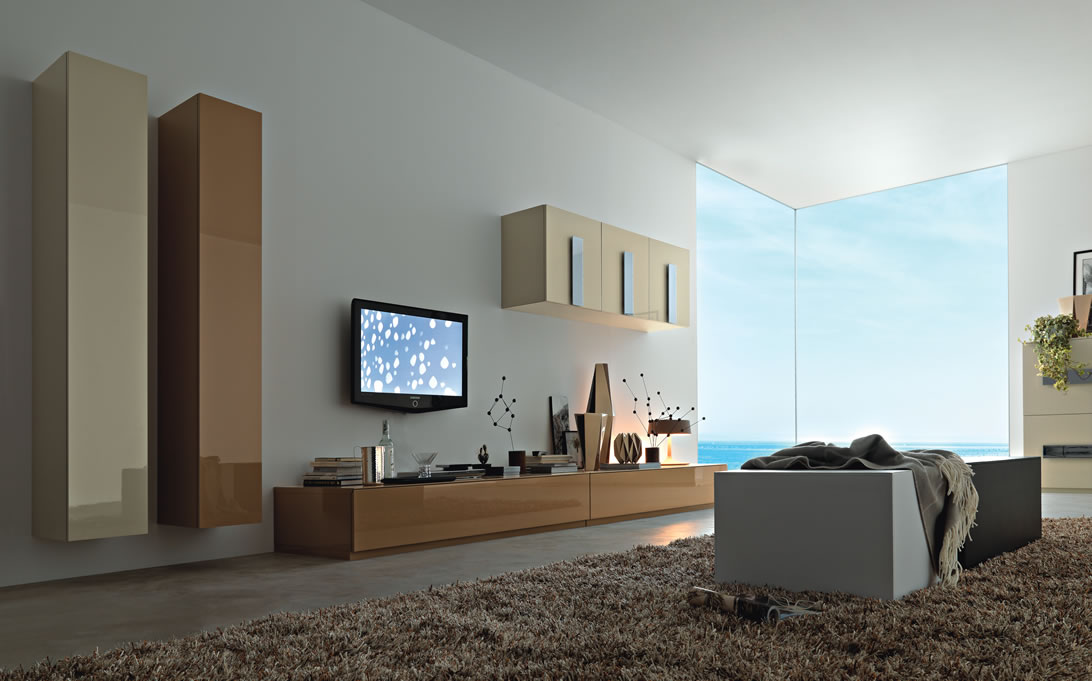 Modern Italian Lcd Black Wall Unit Design Ipc217 Tv