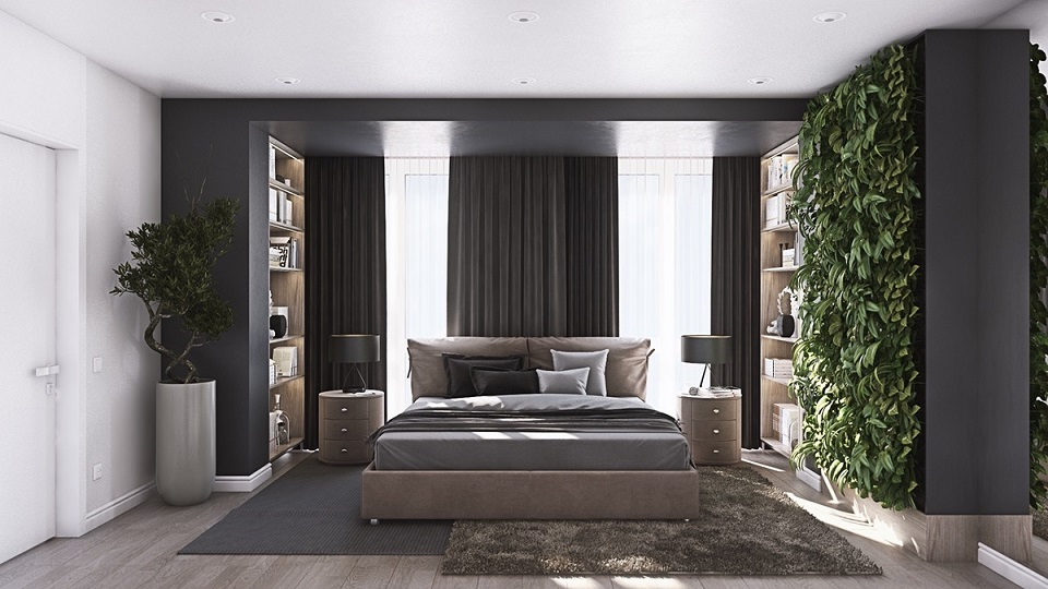 Modernist Bedroom With Tree Wall