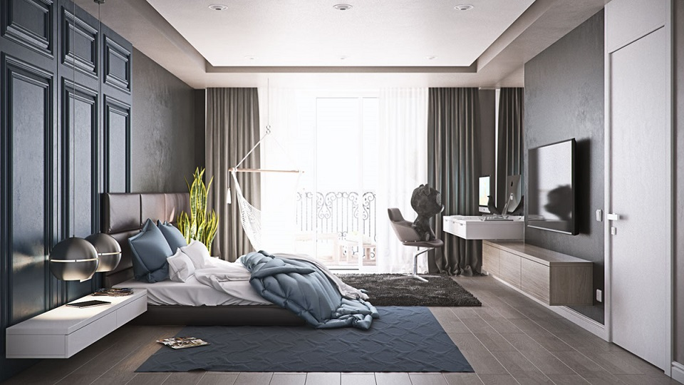 Modernist Charcoal Bedroom With Side Table And Lcd Cabinet
