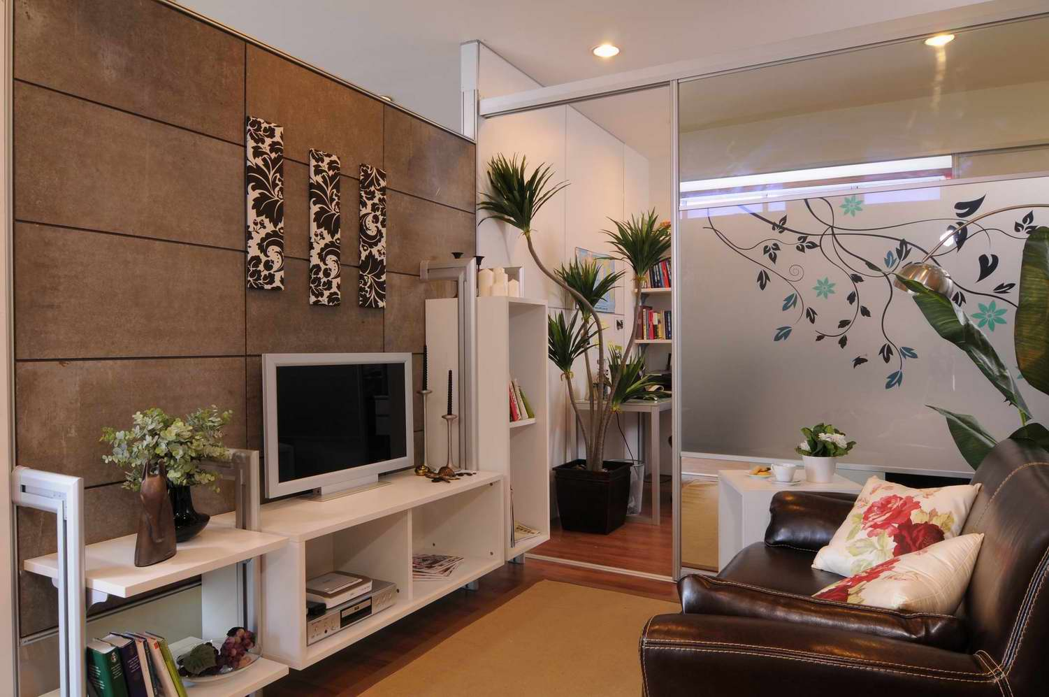 Lcd wall unit design for living room living room designs for Tv cabinet for small living room