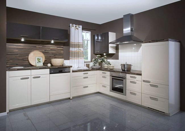 Newest Cream High Gloss Kitchen Design