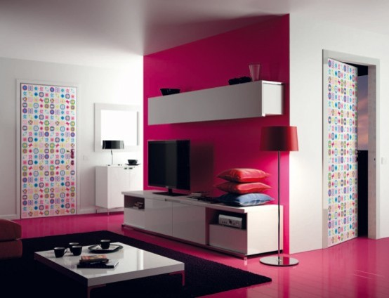 Pinkish Decorated Wall LCD TV Cabinet