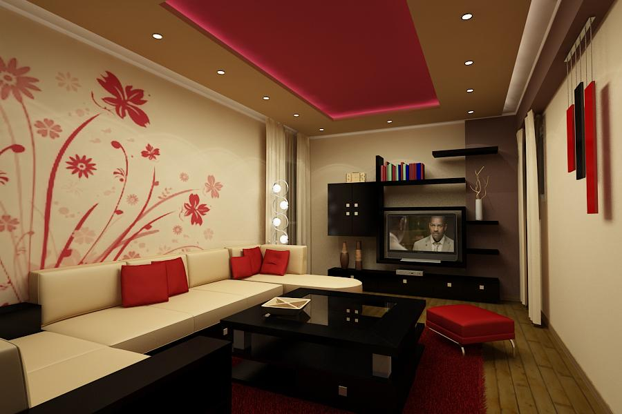 Red And White Inspiring Living Room Design Ipc375 Lcd Wall Unit