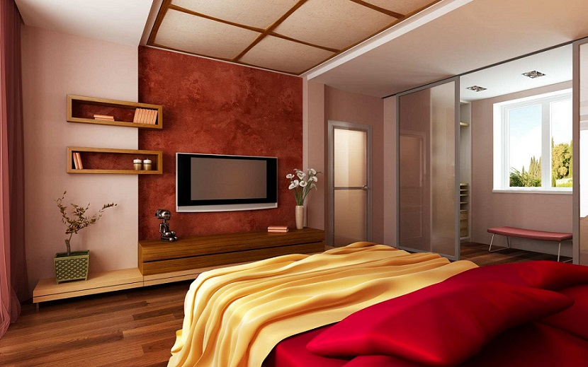 Bedroom design lcd cabinet ipc084 modern master bedroom for Interior design for bedroom red