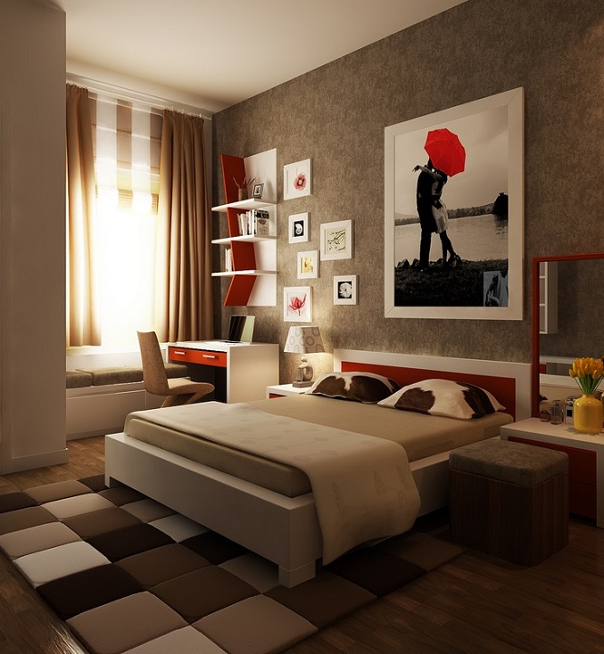 Red Brown Bedroom Layout