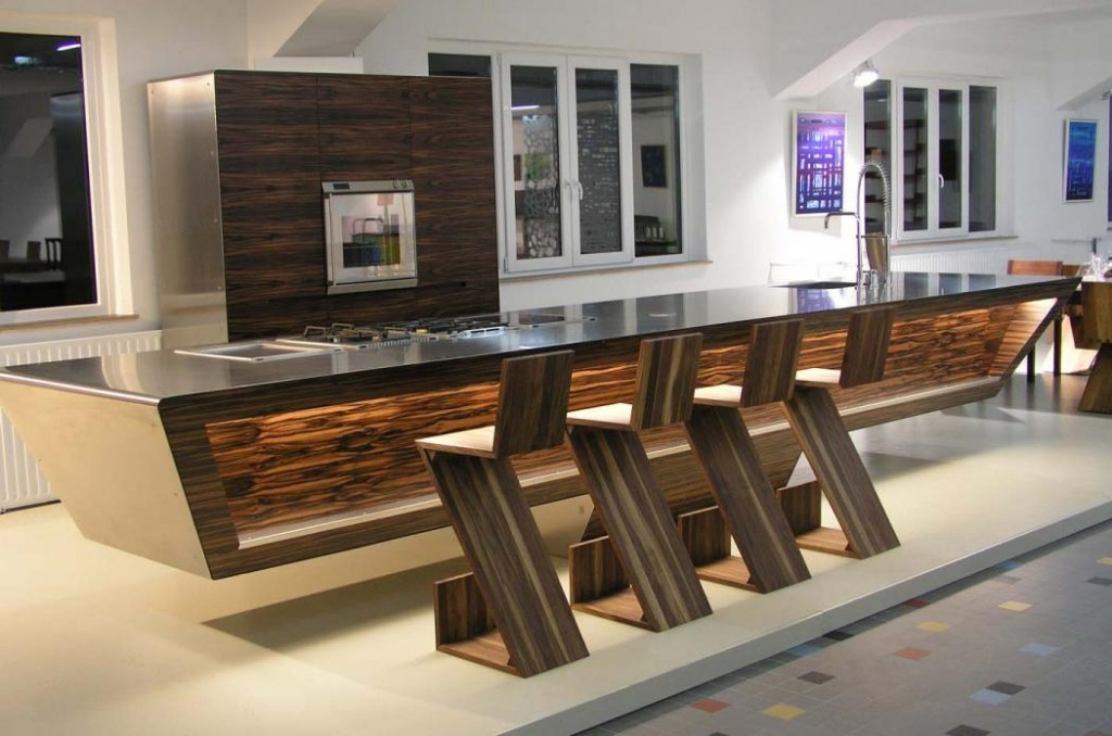 Brown gorgeous kitchen cabinets with modern appliances for Modern german kitchen designs