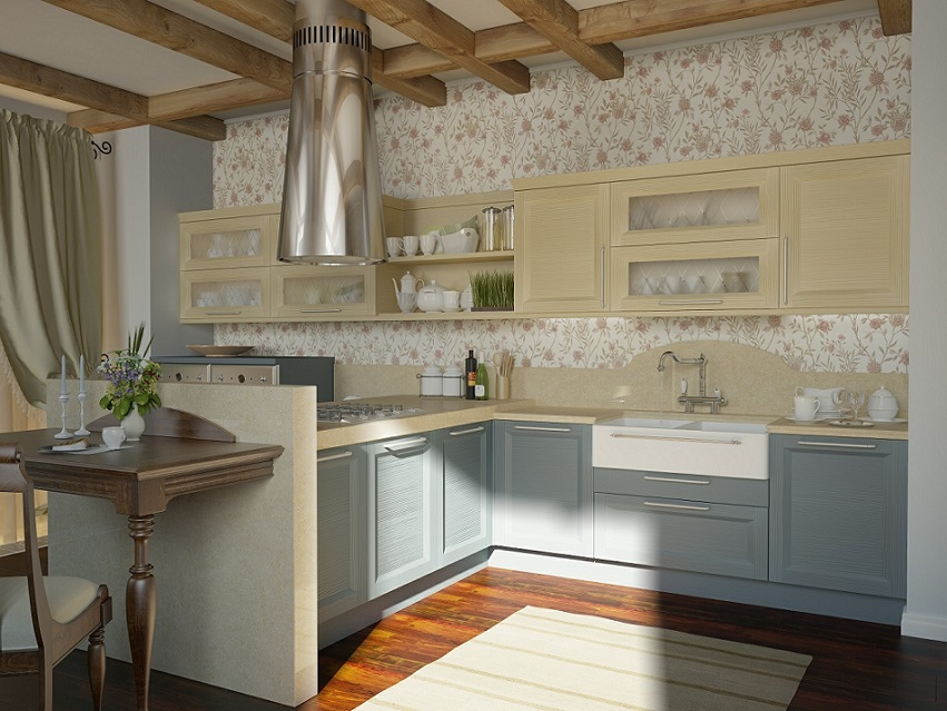 Traditional Kitchen Floral Motif Design
