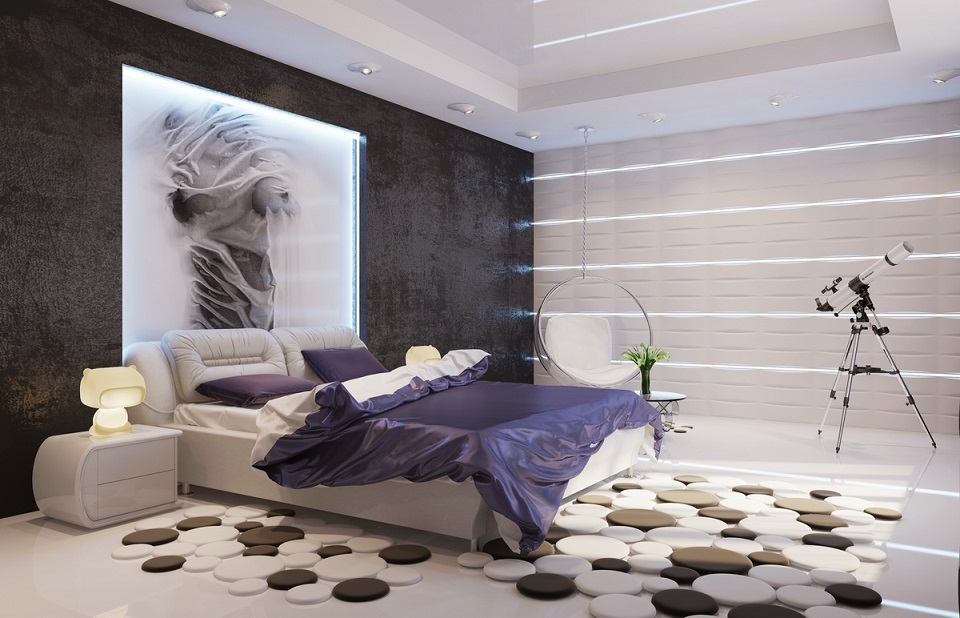 Unique Purple Black Bedroom
