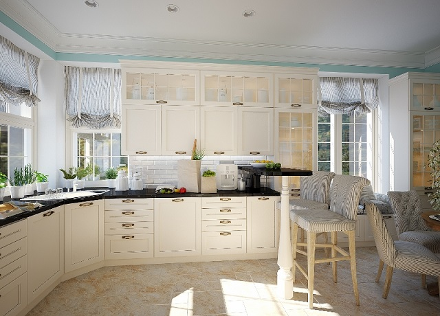 White Airy Traditional Kitchen Design