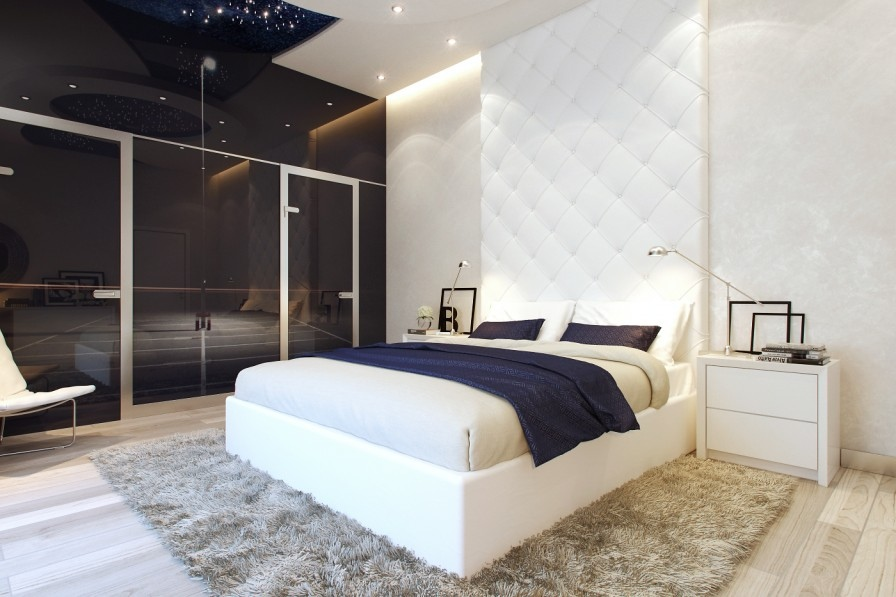 White Cream Bedroom Interio.... Sensational Rug Bedroom Design