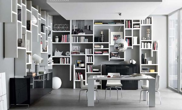 Workspace With Hanging Bookcase Design