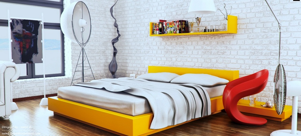 Yellow White Trendy Room