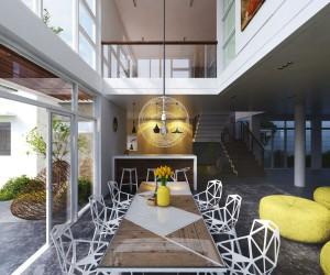 Dining room designs interior design al habib panel doors for Modern dining hall design
