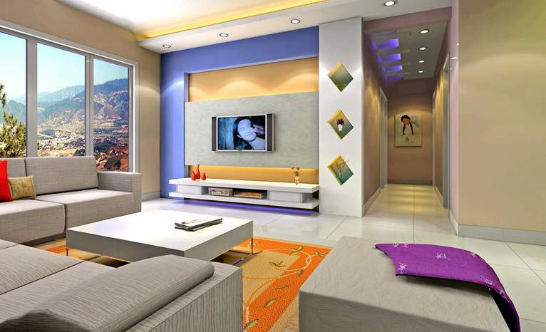Living room designs interior design al habib panel doors for Interior design of living room with lcd tv
